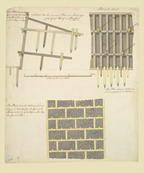 A colored plan shewing the method proposed of laying the water-way from the apron of the sluices at Purfleet